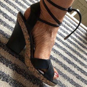 Maxstudio black with cork trim sandal
